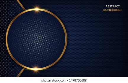 Luxury dark blue overlap dimension background on metal pattern. Colorful golden glitters halftone texture with shiny realistic golden elements. Vector illustration.