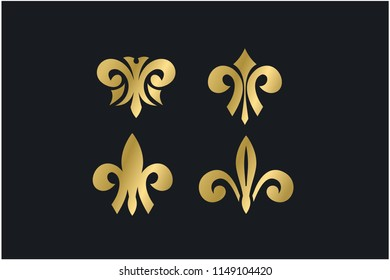 luxury decorative fleur de lis logo vector illustration