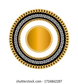 Luxury decorative pattern of golden greek motif with chains isolated on white background.