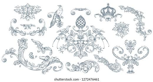 Luxury decorative vector elements set, rococo and baroque style