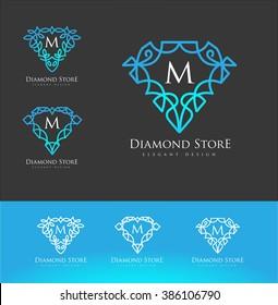 Luxury Diamond Logo. Simple and elegant diamond design logo, Elegant lineart luxury diamond logo design