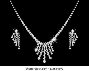 Luxury diamond necklace on black background