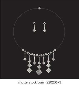 luxury diamond necklace set with earrings- jewellery