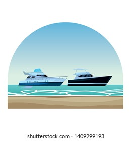 Luxury double decked yatch fast sea travel and exploration pair round shore frame background vector illustration graphic design