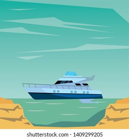 Luxury double decked yatch fast sea travel and exploration peninsula shore background vector illustration graphic design