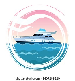 Luxury double decked yatch fast sea travel and exploration sailing splash frame vector illustration graphic design
