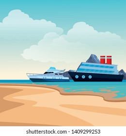 Luxury double decked yatch fast sea travel and exploration cruiseship beach shore background vector illustration graphic design