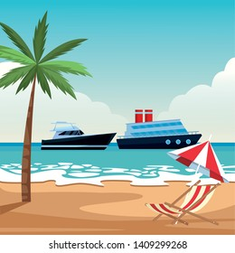 Luxury double decked yatch fast sea travel and exploration and yatch beach shore umbrella and chair with palm tree background vector illustration graphic design