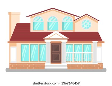 Luxury Dwelling Place Flat Vector Illustration. Detached House, Hand Drawn Villa. Courthouse, Public Library Building. Pillars, Columns Architectural Style. Tourism Attraction Landmark Front View