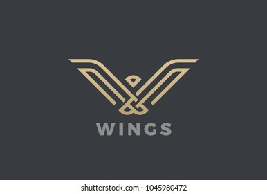 Luxury Eagle Bird abstract Logo design vector template linear style. Gold Geometric Heraldic Logotype concept icon.