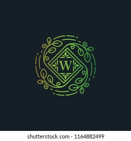 Luxury Eco Leaf Florish Logo template, Letter W icon symbol vector illustration