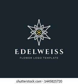 Luxury Edelweiss Flower Logo Vector Template