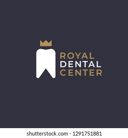 Luxury elegant dentist logo design template.  Tooth with crown creative symbol. Dental clinic vector sign mark icon.