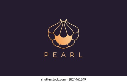luxury and elegant gold colored pearl shell logo template