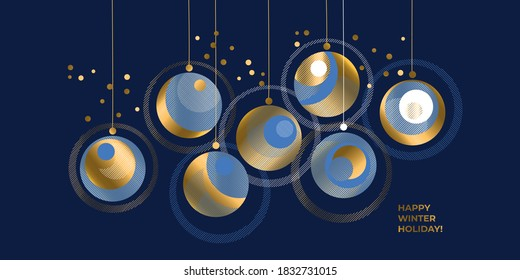 Luxury elegant golden xmas baubles on marine blue background for card, header, invitation, poster, social media, post publication. Geometric business style minimal horizontal card for winter holiday