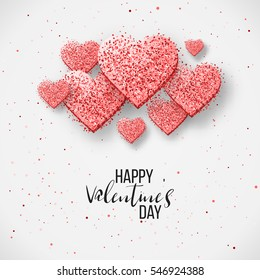 Luxury Elegant Happy valentine day festive sparkle layout template design. Glitter red hearts on gray background with frame, border. Lettering Valentine day card Illustration. Glitter Love confetti.