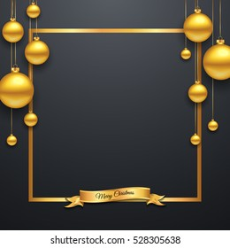 Luxury Elegant Merry Christmas and happy new year Poster Template with Shining Gold Snowflakes and balls on black background. Vector illustration. Snowflake frame and sparkles. Gold christmas balls.
