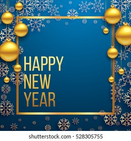 Luxury Elegant Merry Christmas and happy new year Poster Template with Shining Gold Snowflakes and balls on blue background. Vector illustration. Snowflake frame and sparkles. Gold christmas balls.