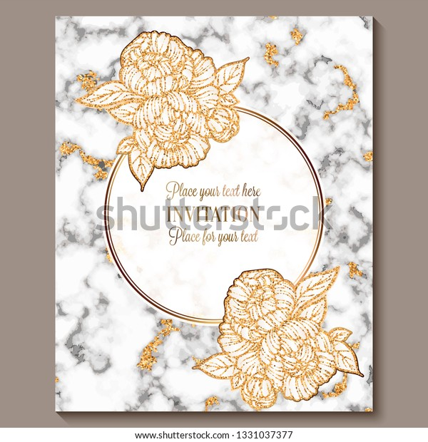 Luxury Elegant Wedding Invitation Cards Marble Stock Vector ...