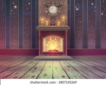 Luxury empty Christmas room template with brick fireplace and fire flames, wooden floor, vintage classic wallpaper pattern, bright candles and golden clock on a wall in vector.