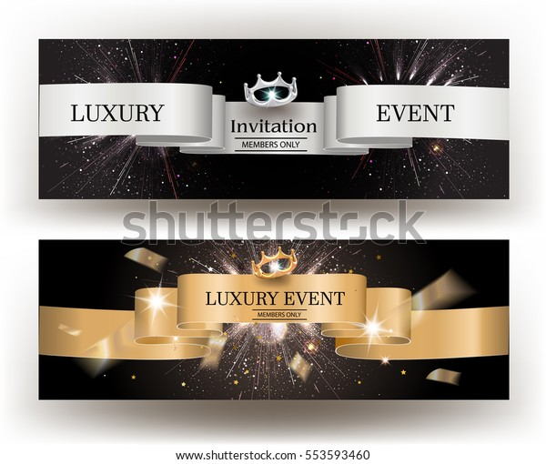 Luxury Event Invitation Card Gold Silver Stock Vector (Royalty ...