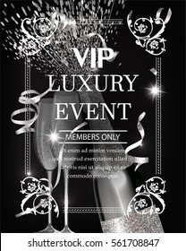 Luxury event invitation shiny banner WITH silver  TEXTURED SERPENTINE, GLASSES AND BOTTLE OF CHAMPAGNE. VECTOR ILLUSTRATION