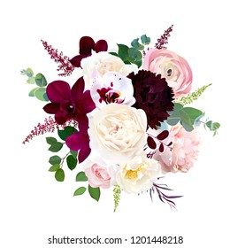 Luxury fall flowers vector bouquet. Dark orchid, garden rose, burgundy red dahlia, ranunculus, astilbe, agonis, seeded eucalyptus and greenery. Autumn wedding bunch of flowers. Isolated and editable.