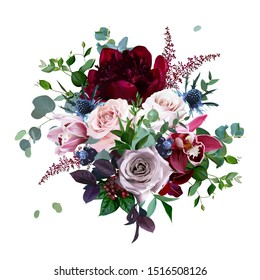 Luxury fall flowers vector bouquet. Cymbidium orchid flower, dusty, mauve rose, burgundy red peony, navy blue thistle, astilbe, greenery and berry.Autumn wedding bunch of flowers Isolated and editable