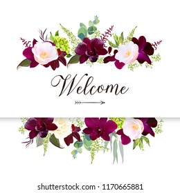Luxury fall flowers vector design horizontal banner frame. Dark orchid, pink camellia, yellow rose, burgundy red astilbe, green hydrangea, seeded eucalyptus and greenery. Autumn wedding card. Isolated