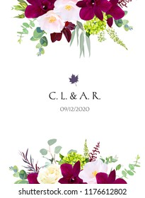 Luxury fall flowers vector design card. Dark orchid, pink camellia, yellow rose, burgundy red astilbe, green hydrangea, seeded eucalyptus and greenery. Autumn wedding bouquets. Isolated and editable.