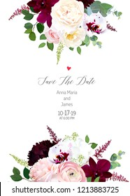 Luxury fall flowers vector design card. Dark and exotic white orchid, garden rose, burgundy red dahlia, hydrangea, ranunculus, astilbe, eucalyptus and greenery. Autumn wedding. Isolated and editable.