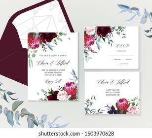 Luxury fall flowers vector design frames. Protea flower, dusty pink garden rose, burgundy red peony, astilbe, blue eucalyptus, greenery. Autumn wedding bunch of flowers cards. Isolated and editable