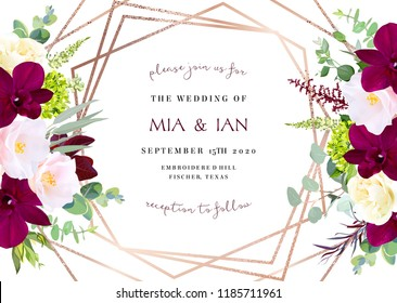 Luxury fall flowers vector geometric card. Dark marsala orchid, pink camellia, yellow rose,burgundy red astilbe, green hydrangea, eucalyptus.Gold polygonal line art. Autumn wedding invitation.Isolated