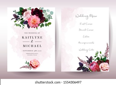 Luxury fall flowers wedding vector bouquet cards. Garden rose, burgundy red peony, pink protea, coral dahlia, ranunculus flowers, astilbe and berry.Autumn watercolor style frames.Isolated and editable