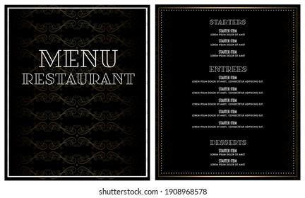 luxury fancy restaurant menu design card
