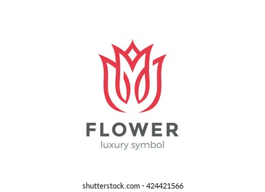 Luxury Fashion Flower Logo abstract Linear style. Looped Tulip Rose Lines Logotype design vector template.
