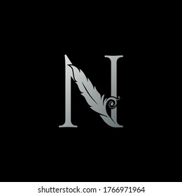 Luxury Feather Letter N logo Icon. Monogram logo template design concept for identity of law, lawyer, legal officer, firm, notary