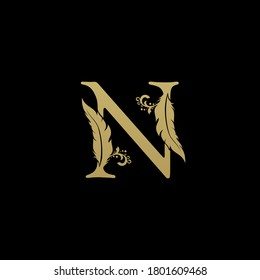 Luxury Feather Letter N logo Template. Gold Design Concept