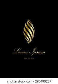 Luxury Feather Logo,  ornament gold