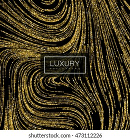 Luxury festive background with shiny golden glitters. Vector illustration of glittering swirled stripes texture