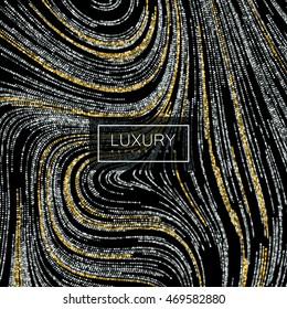 Luxury festive background with shiny silver and golden glitters. Vector illustration of glittering swirled texture. Wallpaper or package design pattern template