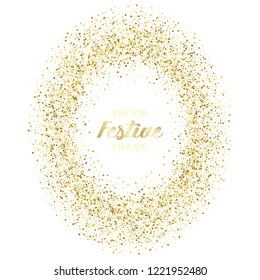 Luxury festive golden oval frame on white background. Gold glitter from star, round and diamond particles. Template with glitter for logo, greetind card, certificate, gift voucher and covers.