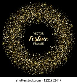 Luxury festive golden round frame on black background. Gold glitter circle with star, round and diamond particles. Template with glitter for logo, greetind card, certificate, gift voucher and covers.