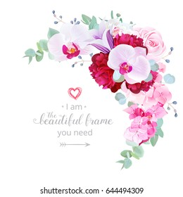 Luxury floral crescent shaped vector frame with white and burgundy red peony, orchid, pink rose, violet bellflower, hydrangea, eucalyptus. Wedding bouquet. All elements are isolated and editable.