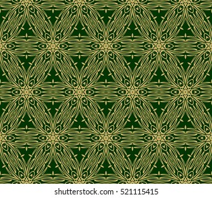 Luxury floral ornament. seamless pattern. green and gold color. vector illustration.