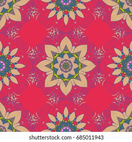 Luxury floral pattern. Round flower ornament. Vector invitation with colored mandala design element. Decorative vintage print. Unusual greeting in oriental boho chic style. Square invite template.