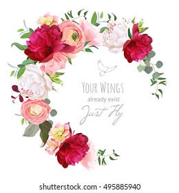 Luxury floral vector round frame with ranunculus, peony, rose, carnation, green plants on white. Pink, burgundy red and white flowers. Half moon shape bouquet. All elements are isolated and editable.