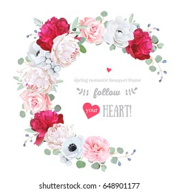 Luxury floral vector round frame with peony, rose, camellia, anemone, eucalyptus, brunia on white. Pink, burgundy red and white flowers. Half moon shape bouquet. All elements are isolated and editable