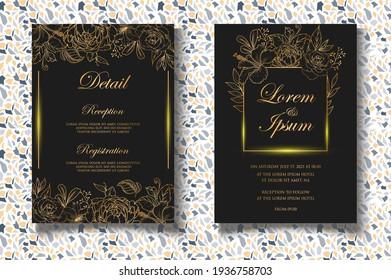 Luxury floral wedding invitation template