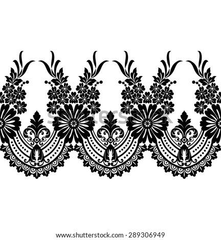 luxury flower damask design sketchflower motiflace stock vector